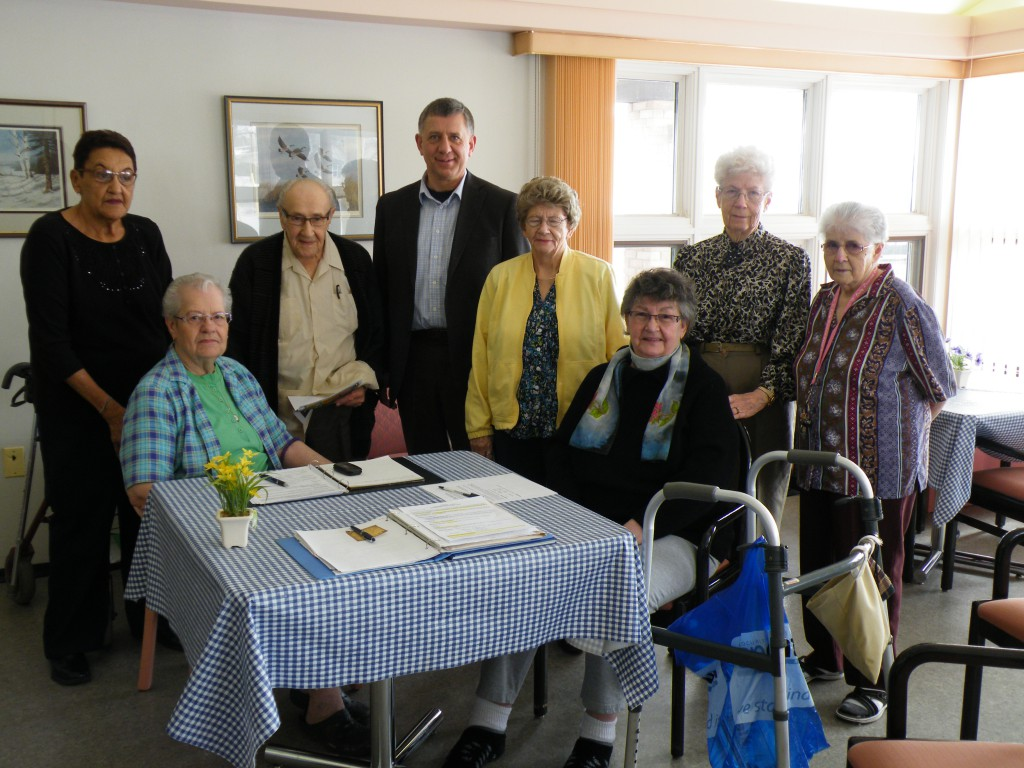 MP Ted Falk with members of the Davidson Memorial Centre Seniors GroupMorris New Horizons